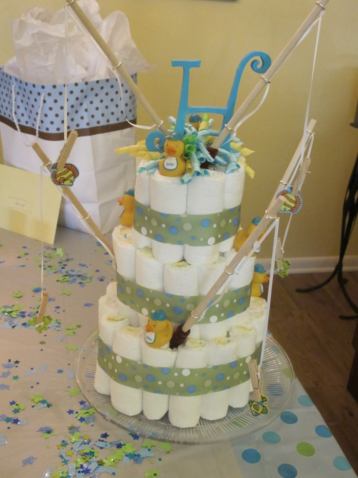 Diaper Cake For Fish Themed Baby Shower