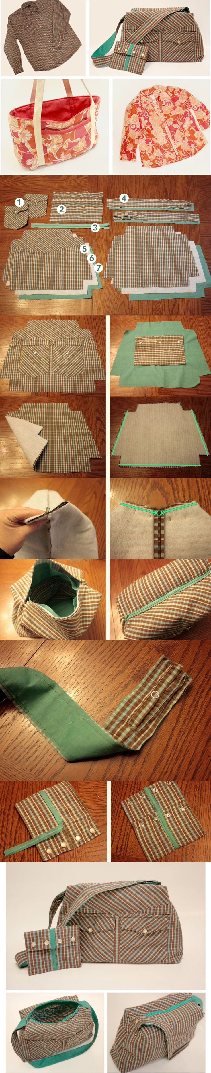 Bolso con una camisa Make a purse from a shirt