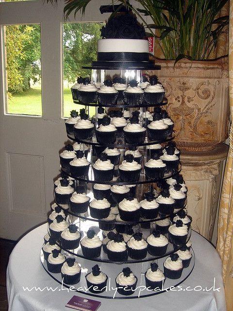 Black & White Wedding Cupcakes-Langar Hall Nottingham