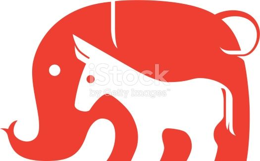 clip art, sign, symbol, icon, logo, vector, graphics, design, illustration, adobe illustrator, elephant, donkey, horse, pony, democratic party, US republican party,