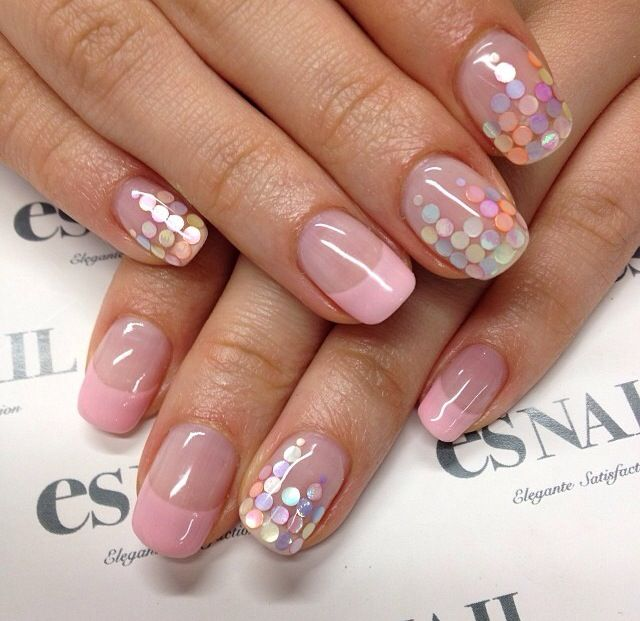 Pastel pink sequin nails