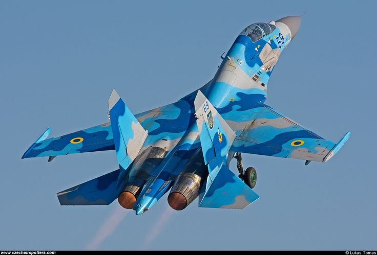 Bright blues and grays camo of Ukraine - Air Force – Sukhoi Su-27 UB Flanker C 69