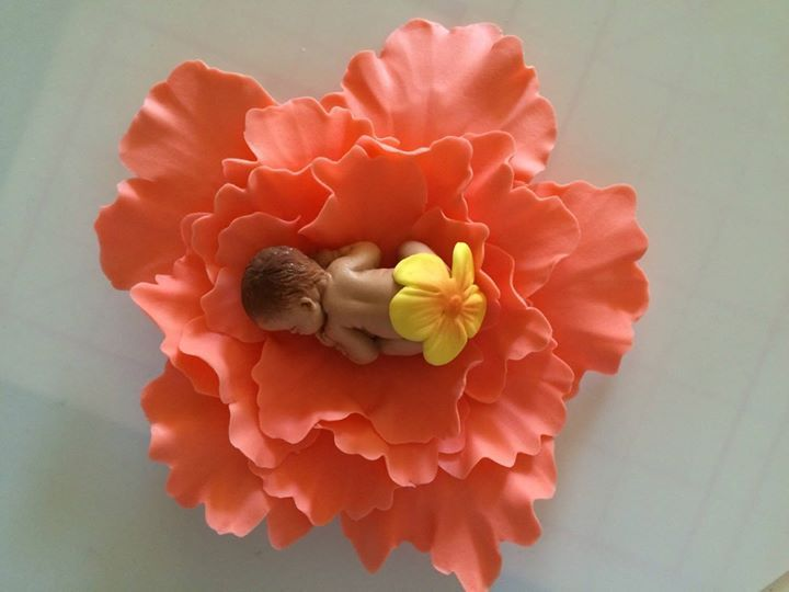 Baby shower cake topper Coral Peony Baby 3D figure edible fondant decoration girl christening dedication baptismal announcement image chic by InscribingLives (19.99 USD) http://ift.tt/1LYXOBI