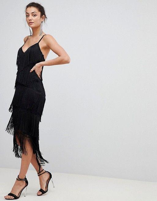 cf94e0c4c0d TALL Fringe   Lace Plunge Bodycon Midi Dress