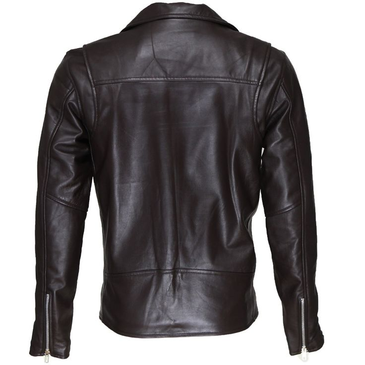 Mens Brown Slim Fit NZ Lambskin Leather Biker Jacket - Jamie | by VIPARO