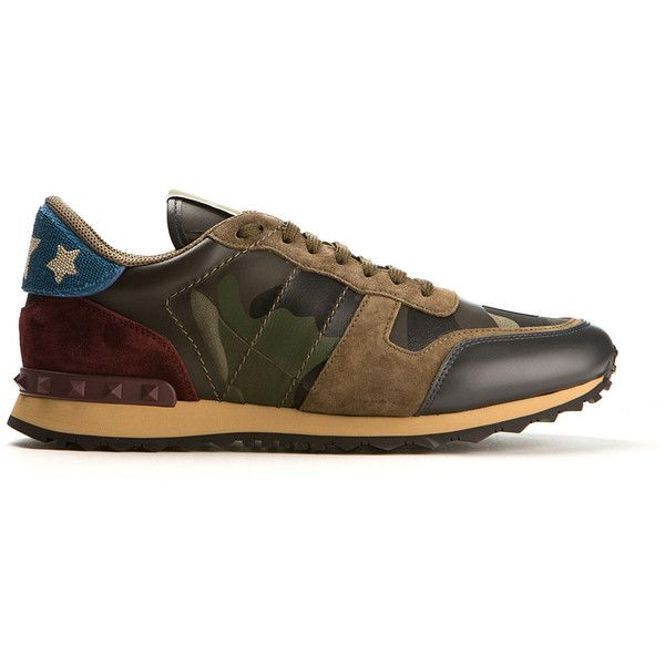 Valentino Camouflage Rockrunner Embroidered Sneaker ($940) ❤ liked on Polyvore featuring men's fashion, men's shoes, men's sneakers, valentino mens shoes, mens leather sneakers, valentino mens sneakers, mens studded shoes and mens camo sneakers