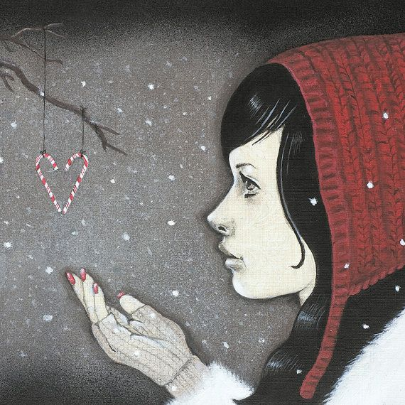 Giclee print by Andy McCready - 'SNOWFLAKES AND CANDYCANES' - Limited edition, Christmas, winter, red. Prints by giltandenvy on Etsy