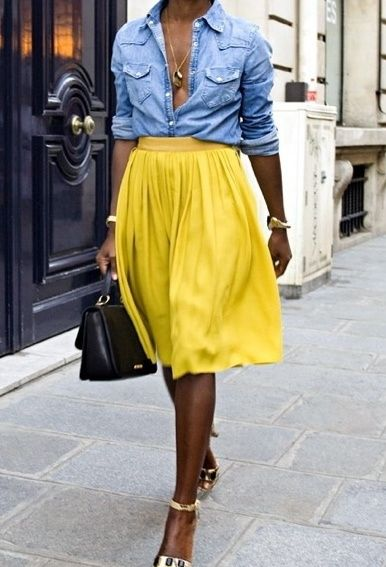 why not to try a high waisted skirt with a denim shirt?   CLICK THIS PIN if you want to learn how you can EARN MONEY while surfing on Pinterest