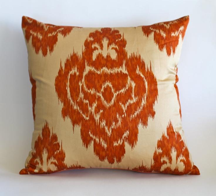20x20 ikat orange and beige pillow case, ikat pillow cover, cotton pillow, brick orange ikat. $40.00, via Etsy.