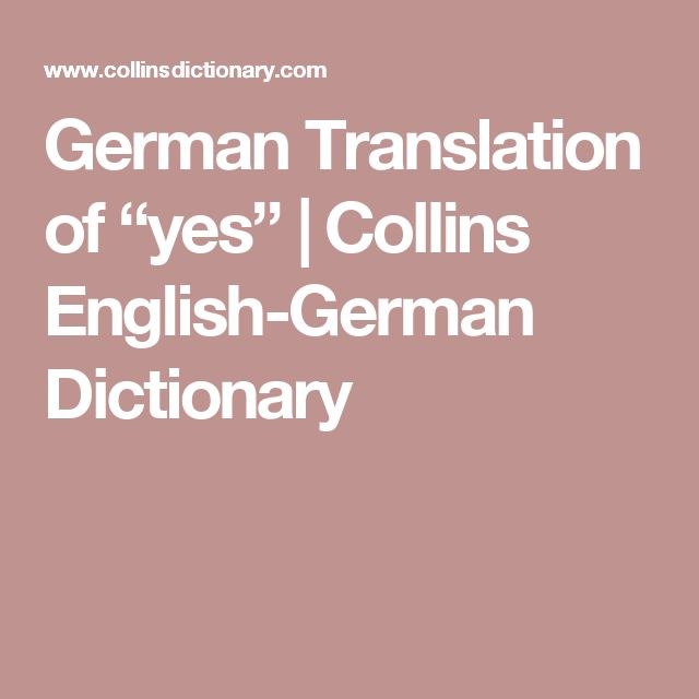 "German Translation of ""yes"" 