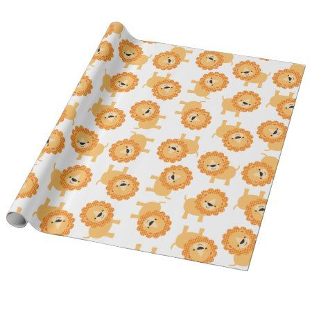 Cute Baby Jungle Lions Wrapping Paper - tap to personalize and get yours #pattern #patterns #illustrations #illustration #animal #animals #giftwrap #giftwrapping #kids #children #babyshower
