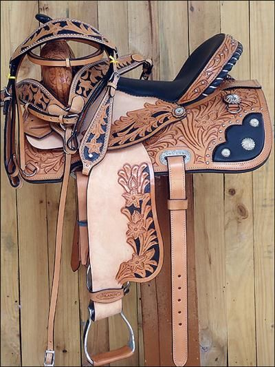 HSOS203PA822-HILASON WESTERN HAND TOOLED LEATHER BARREL RACING TRAIL PLEASURE SADDLE WITH BRI