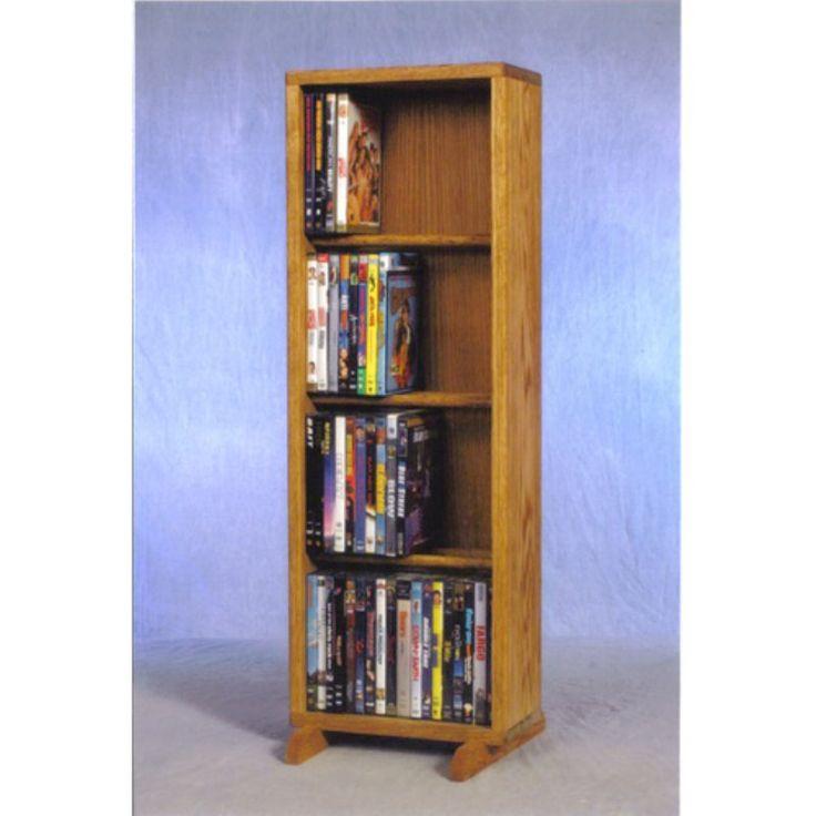 The Wood Shed Solid Oak 4 Row Dowel CD / DVD Combination Media Rack - 12 in. Wide Honey Oak - 415-12 COMBO