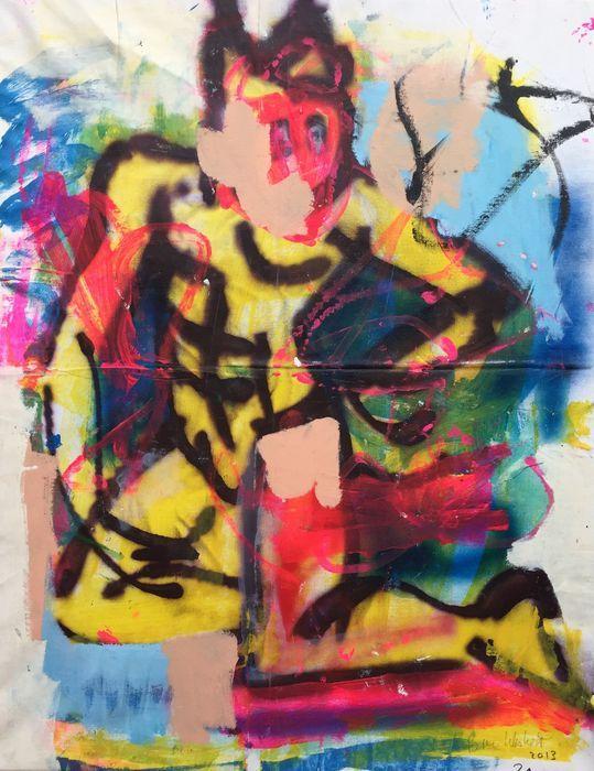 Peter Klashorst - Power ranger  Acrylverf werk van Peter Klashorst uit 2013. De afmeting van het schilderij is circa 90 x 70 cm. Het doek is reeds voor u opgespannen op een houten frame.De gebruikte techniek is acrylverf op katoen. Let op: Als bewijs van echtheid ontvangt u bij dit originele werk de digitale foto waarop Peter zelf het werk in handen heeft (zie foto 2). Dit is voor u de garantie dat u geen vals werk koopt.  EUR 36.00  Meer informatie