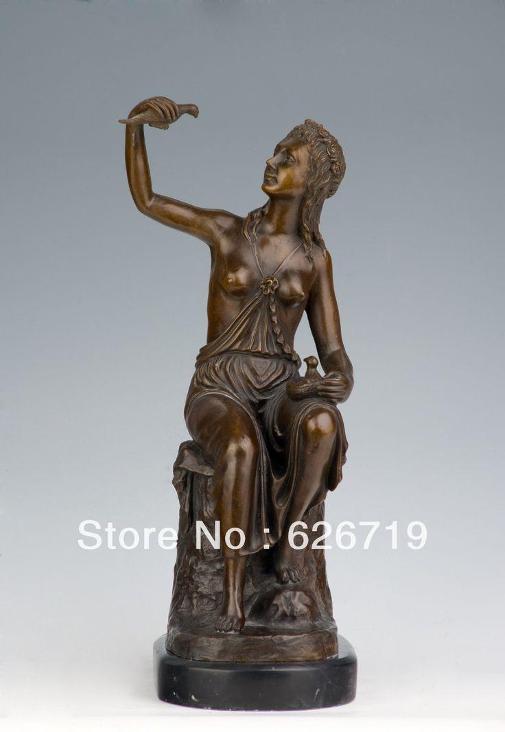 Завод стоимость Классическом Стиле Бронзовая Скульптура Женщины топлесс девушки Статуя с фигурки голубь CZS-015