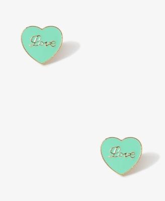 Cursive Love Heart Studs