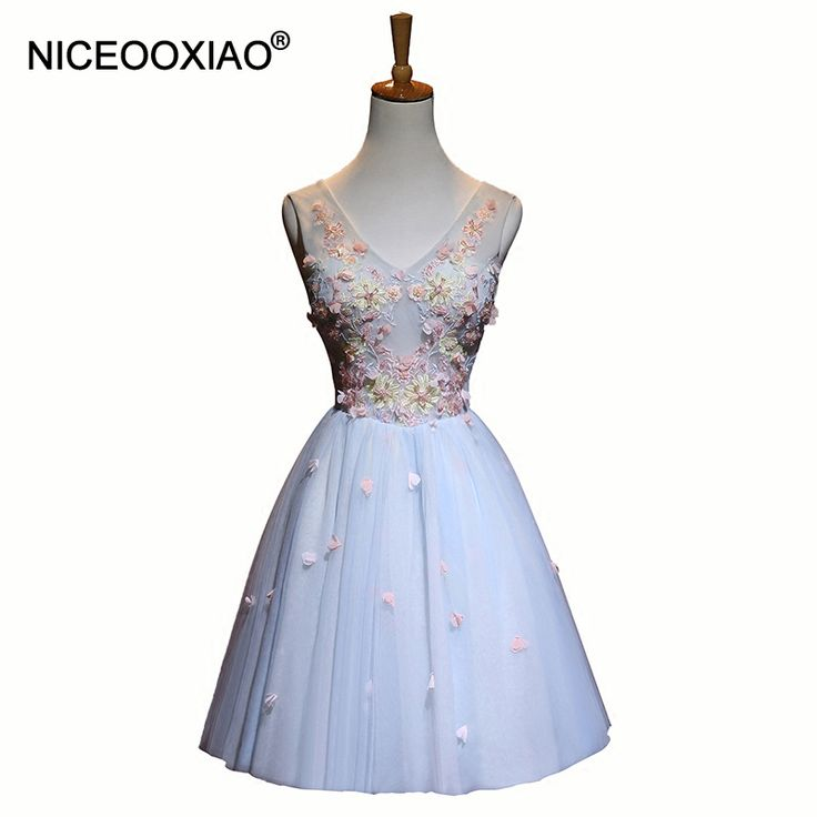 >> Click to Buy << NICEOOXIAO 2017 Lady's Cocktail Dresses Sweet V Neck Sleeveless Ball Gown Short Elegant Party Formal Gowns Robe De Soiree #Affiliate