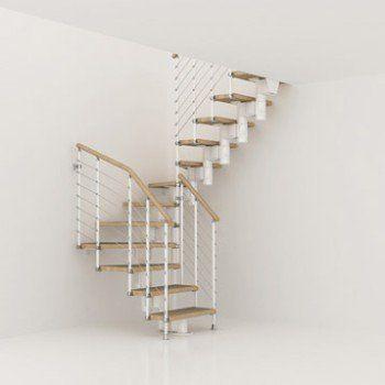 Escalier modulaire Long structure métal marche bois | Leroy Merlin