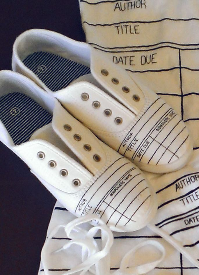 Library Due Date - Canvas Sneakers #DIY #Idea