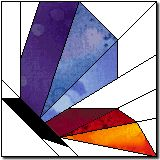 Paper pieced butterfly for quilt block - love stained glass look!  free pattern