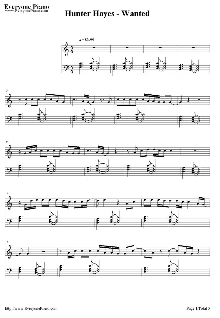 Free Wanted-Hunter Hayes Sheet Music Preview 1