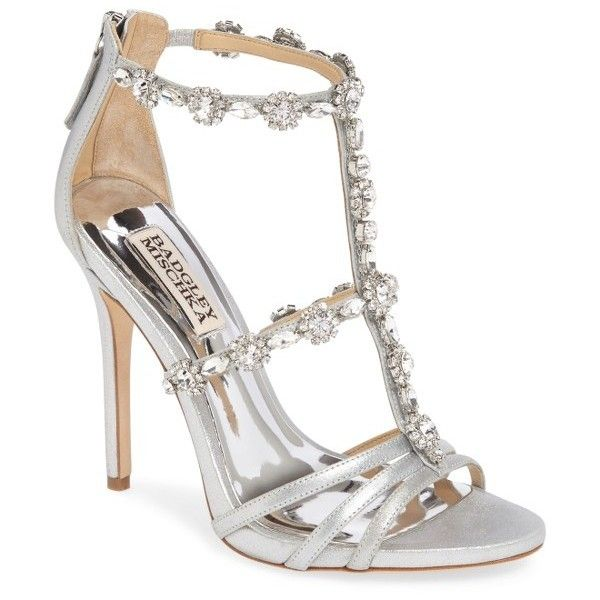 Women's Badgley Mischka Thelma Crystal Sandal ($172) ❤ liked on Polyvore featuring shoes, sandals, heels, sapatos, silver suede, heeled sandals, high heel stilettos, crystal sandals, badgley mischka sandals and special occasion shoes