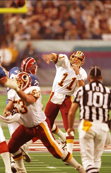 Super Bowl XXVI, Jan. 26, 1992 Sell your soul for one All-World year? Hell, yeah. Mark Rypien Washington Redskins quarterback Mark Rypien tosses a pass against the Buffalo Bills. Rypien earned Super Bowl MVP honors by throwing for 292 yards and two touchdowns on 18-of-33 passing in the Redskins' 37-24 win. Read More: http://sportsillustrated.cnn.com/nfl/photos/1301/100-greatest-super-bowl-photos-of-all-time//85/#ixzz2rN5BNN00