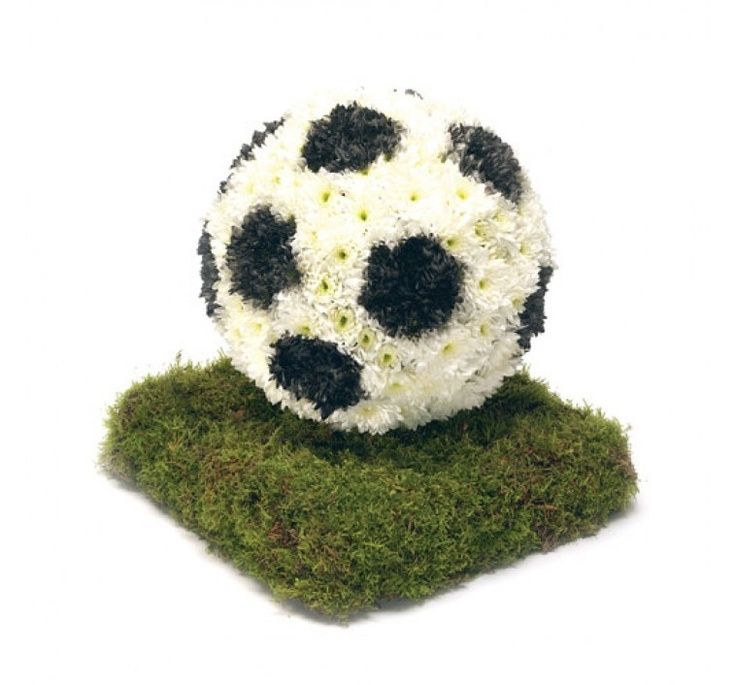 FOOTBALL IN FLOWERS - SPECIAL DESIGNS AND LETTERS - FUNERAL FLOWERS