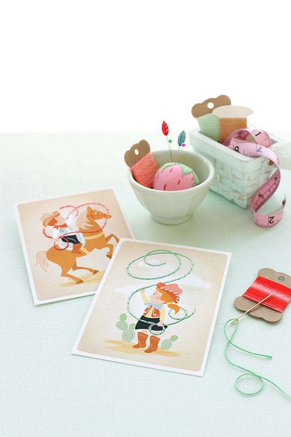 Teach the kiddos to stitch (and practice hand-eye coordination) with these free printable sewing cards.