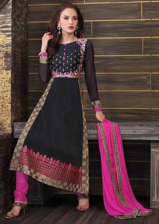 USD 36.06 Black Cotton Pakistani Suit 44787