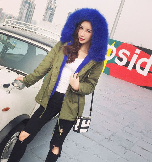 UK Brand New Fashion 2017 Fall / Winter Women Real Fur hooded Bomber Jacket Cotton Fleece Lining Warm Down Jacket and coat