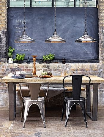 Stainless style - Hang downlighters over a dining table