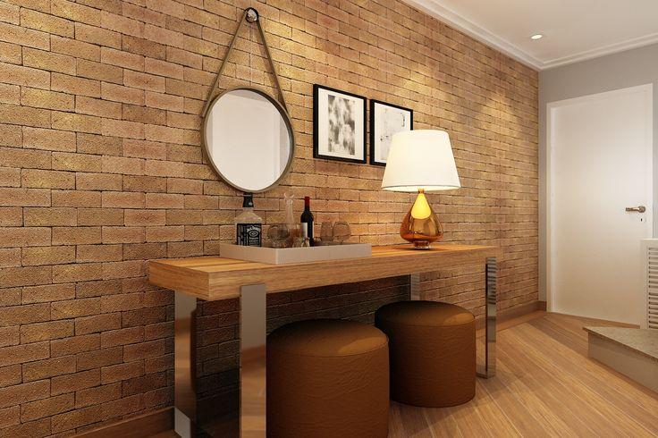 Com área pequena mas charme de sobra, a decoração desta sala de jantar aposta no revestimento de tijolos na parede e no aparador com tampo em madeira de demolição e pés em aço inox. Quando os convidados ultrapassam os assentos, o aparador une-se à mesa e as banquetas viram lugares extras. O espelho é um charme adicional na decoração.  🌿🏠#lilianazenaro #lilianazenarointeriores#projetolilianazenaro #espelho #aparador #reforma #reformaresidencial #decoracao