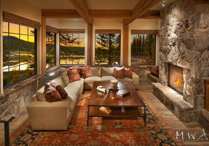 Family Room Reclaimed Wood Beams Stone Fireplace Steel