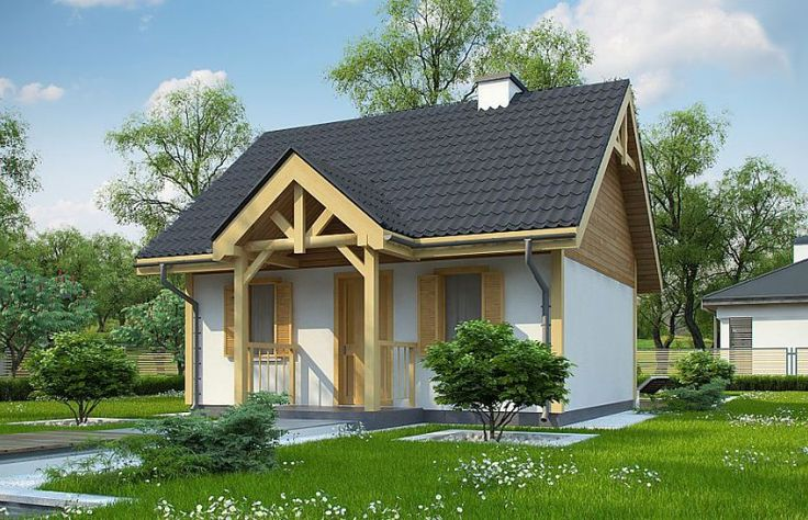 Projekt domu letniskowego Z352  to mały domek letniskowy, który doskonale sprawdzi się też jako dom całoroczny. Posiada on wszystkie podstawowe pomieszczenia : salon z aneksem kuchennym, łazienkę oraz sypialnię.