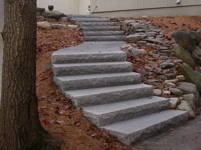 Curving Granite Steps With A Landing Outdoor Life