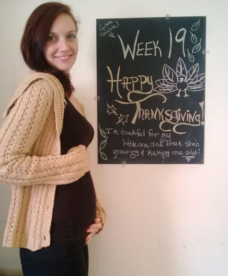 Pregnancy Chalkboard Tracker / 19 weeks / 2nd Trimester / Baby Bump / Happy Thanksgiving