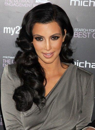 Kim Kardashian Hair kardashian kim black hair style curls celebrity socialite long