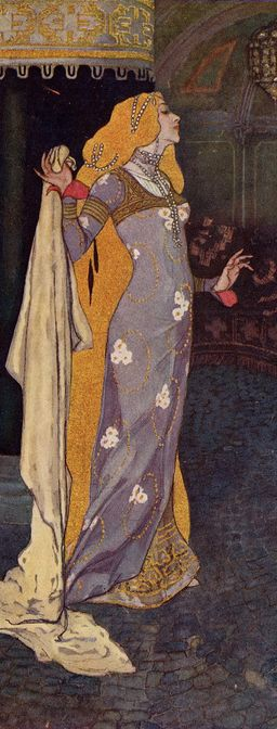 Princess Goldie illustration by Artuš Scheiner for Zlatovláska by Karel Jaromír Erben. Published in Prague, 1911