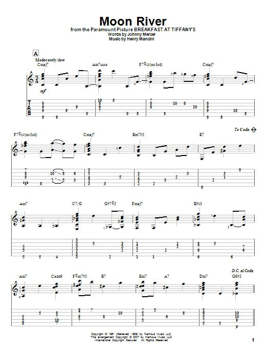 Moon River by Henry Mancini - Solo Guitar - Guitar Instructor