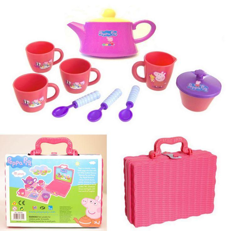 PEPPA PIG Tea Set in Hamper NEW 10 Piece Fun Pretend Picnic Play