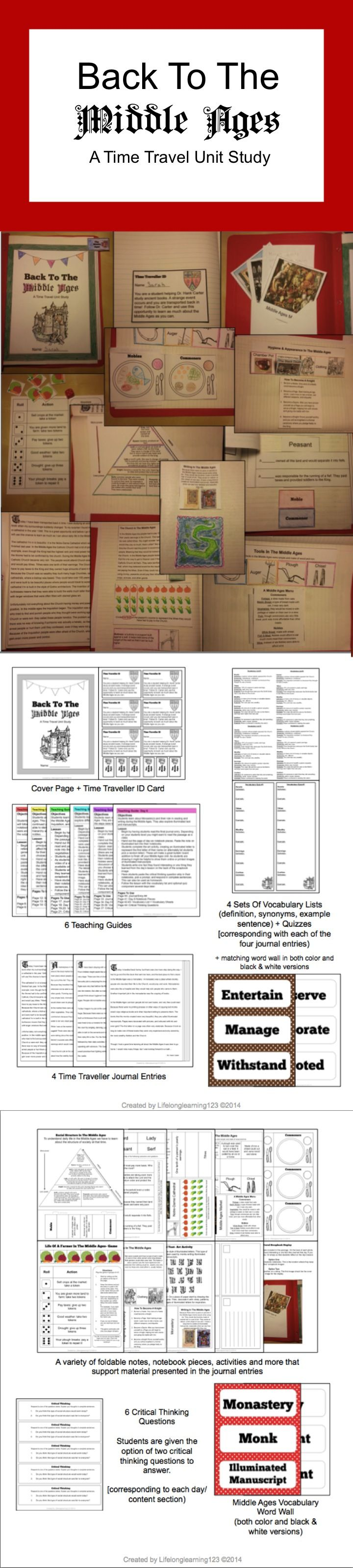 This unit provides a general overview of daily life in the Middle Ages in an engaging way that presents the information as a fun narrative. Students are transported back in time to the Middle Ages and produce a hands-on notebook with interactive components. They follow the diary entries of a professor, creating crafts, foldable notes, and other activities for each entry and topic.