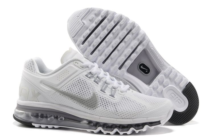 Mens Nike Air Max 2013 White Reflective Silver Wolf Grey Shoes | WHITE | Pinterest | Nike Air Max, Nike Air and Nike