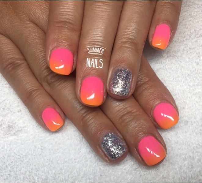 Ombre Neon Summer Nails With Glitter Nails Nail Shimmer Summer Nails
