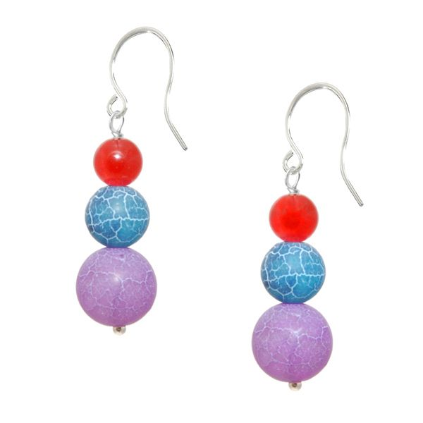 Chanadh Gemstone Earrings - These colourful earrings combine the gorgeous semi precious gemstone agate colours of subtle purple, rich blue and vibrant red. This amazing design will quickly become your favourite accessory.  Set on sterling silver ear hooks, created and hammered by hand.