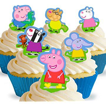 Cakeshop 12 x PRE-CUT Peppa Pig Stand Up Edible Cake Toppers