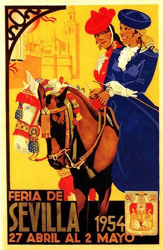 Feria de Sevilla Poster 1954  Seville, Spain. via flickr