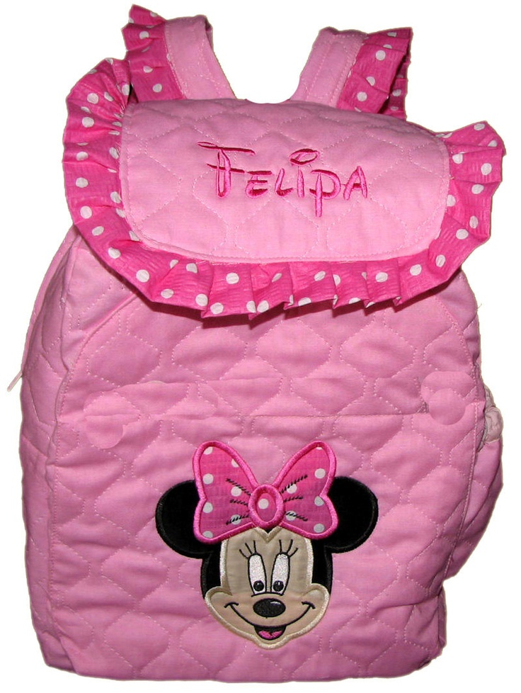 Miss Mouse TODDLER BACKPACK In 12 Size With Minnie Applique On Bubblegum Pink Personalized
