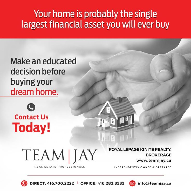 Your home is probably the single largest financial asset you will ever buy. Make an educated decision before buying your dream home. Contact Us Today! #TeamJay #RealEstateProfessionals #Realestate #Realtor #RoyalLePage #Ignite #ListWithUs #FreeHomeEvalution #HappySeller #HappyClient #ExceptionalService #FreeHomeStaging #ListWithTeamJay #BuyandSellWithTeamJay #Canadaday #canada