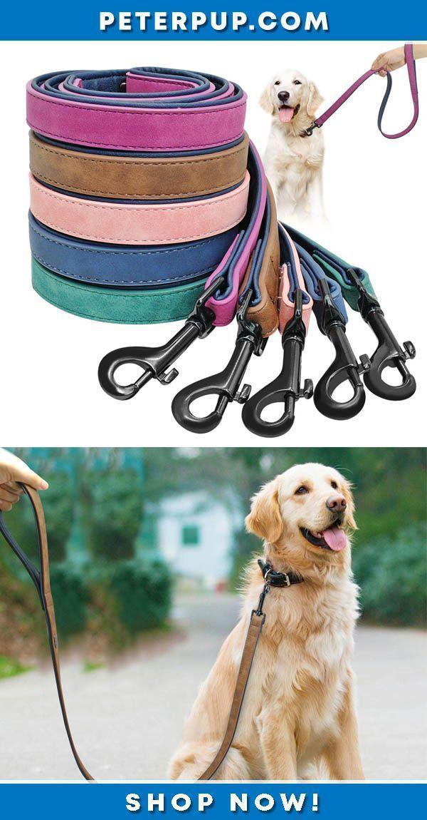 Leather Dog Leash Lead Harness For Walking Training Small Medium